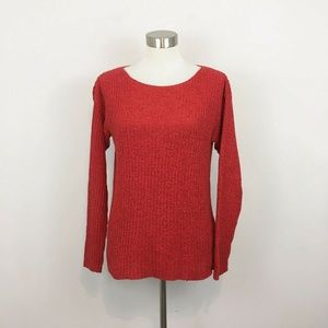 Eileen Fisher Coral Knit Long Sleeve Boat Neck S